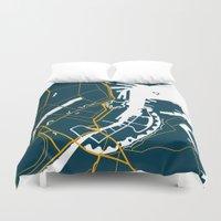 copenhagen Duvet Covers featuring Copenhagen Denmark Map by Studio Tesouro