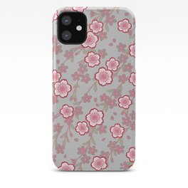 Japanese Vintage Floral Kimono Pattern with Pink Sakura iPhone Case
