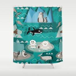 Arctic animals teal Shower Curtain