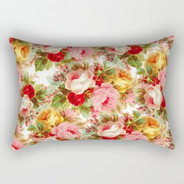 Boho chic pink yellow red roses floral vintage painting Rectangular Pillow