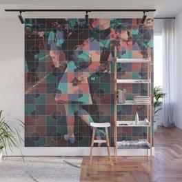 Old love kiss + Hexagon pattern Wall Mural