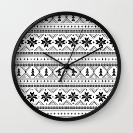 Fair Isle christmas pattern snowflakes camping winter trees christmas tree minimal black and white Wall Clock