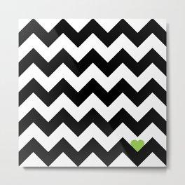Heart & Chevron - Black/Green Metal Print