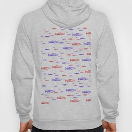 Red and Blue Fish Pattern Hoody