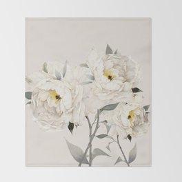 White Peonies Throw Blanket
