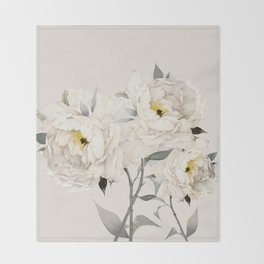 White Peonies Throw Blanket