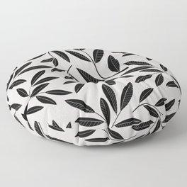 Black & White Plant Leaves Pattern Floor Pillow