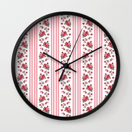 Vintage Floral Stripes - Coral Rose Wall Clock