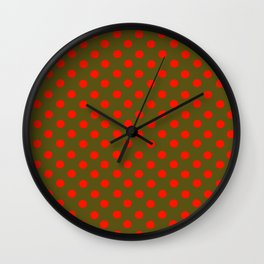 Brown and Red Polka Dot Party Wall Clock