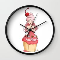 dessert Wall Clocks featuring Dessert Princess by Kaylynn Franco