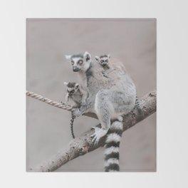 RINGTAILED LEMUR FAMILY by Monika Strigel Throw Blanket