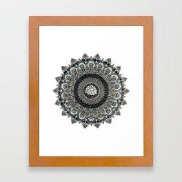 Black and White Flower Mandala with Blue Jewels Framed Art Print