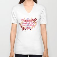 magical girl V-neck T-shirts featuring Magical Girl In Training by CassidyStone