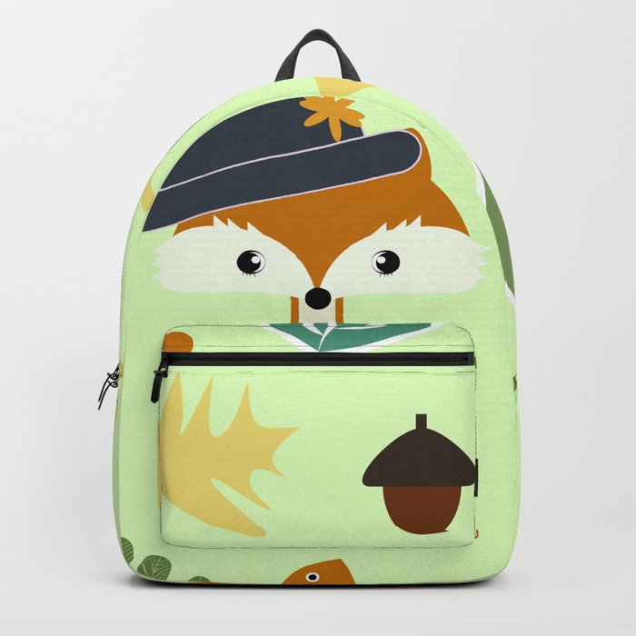Cute fox in autumn Backpack