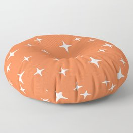 Mid Century Modern Star Pattern 443 Orange Floor Pillow