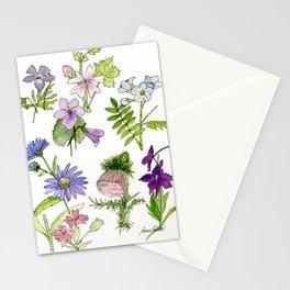 Botanical garden woodland wildflower nature art study Stationery Cards