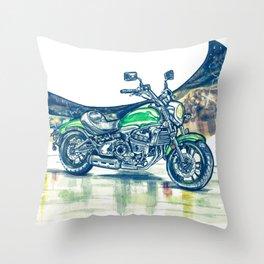"""Motorcycle"" - Cross Process Throw Pillow"