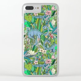 Improbable Botanical with Dinosaurs - dark green Clear iPhone Case
