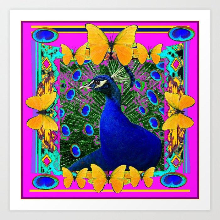Cerise Wildlife Art Blue Peacock & Yellow Butterflies Art Art Print