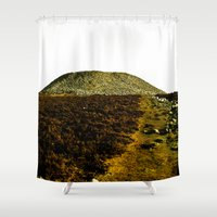 tomb raider Shower Curtains featuring Queen Maeve's Tomb, Knocknarea, Co.Sligo, Ireland by Michelle Harton