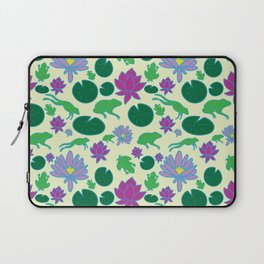 Jumping Frogs of Lily Pad Valley Laptop Sleeve