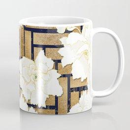 Navy Herringbone with Peony Flowers Print Coffee Mug