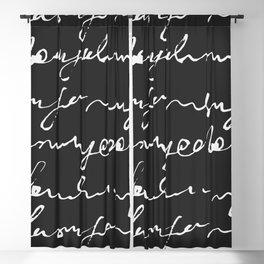 Doodles Letters Black Blackout Curtain