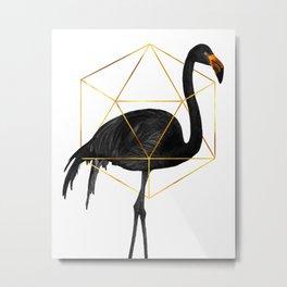 Black Flamingo - Tropical Wall Decor - Flamingo Posters - Exotic, Black, Gold, Modern, Minimal Metal Print
