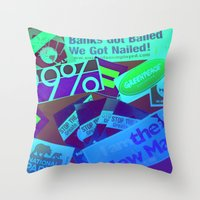 stickers Throw Pillows featuring Bumper Stickers by Ellen Turner