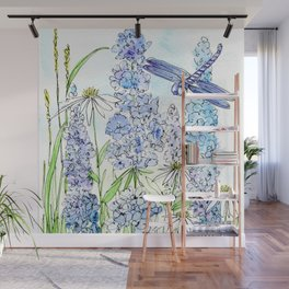 Watercolor Wildflower Garden Dragonfly Blue Flowers Daisies Wall Mural