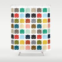 bears Shower Curtains featuring Bears, Bears, Bears by Steph Dillon