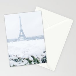 Eiffel Tower in Paris in the Snow Stationery Cards