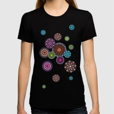 Mandala Dots Black Womens Fitted Tee SMALL