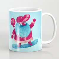 snowboard Mugs featuring Snowboard Santa by Lime