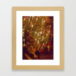 Glow of a candlelit Christmas tree Framed Art Print