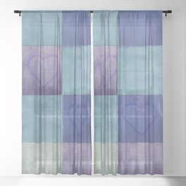 Blue Tiles with Hearts Sheer Curtain
