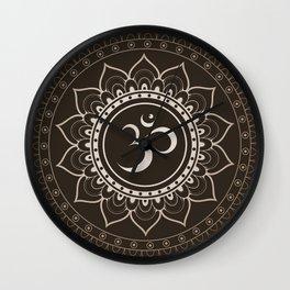 Espresso Brown Om Mandala Wall Clock
