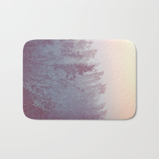 Forest Fog - Snowy Mountain Trees at Sunset Bath Mat