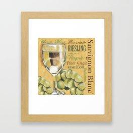 White Wine Text Framed Art Print