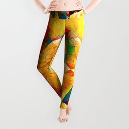 2128-JPC Colorful Abstract Nude Woman Rear View on Hands and Knees Leggings