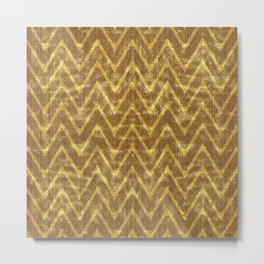 Faux Suede Chocolate and Gold Chevron Pattern Metal Print