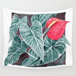 Pop Anthurium Leafs and Flowers Wall Tapestry