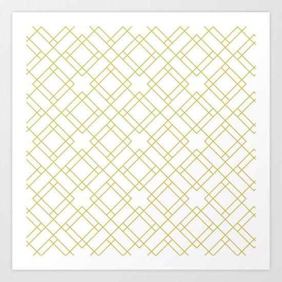 Simply Mod Diamond in Mod Yellow Art Print