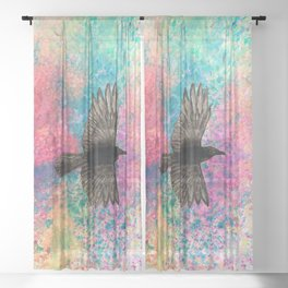 Flying crow Sheer Curtain