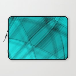 Angular strokes with aquamarine diagonal lines from intersecting bright stripes of light.  Laptop Sleeve