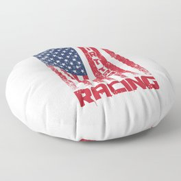 Dirt Track Racing American Flag Racer Auto Racing Race Cars Gifts Floor Pillow