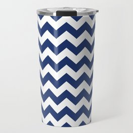 Navy Chevron Travel Mug