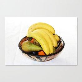 Fruit in a Wooden Bowl, Banana, orange, Pear, Plum Canvas Print
