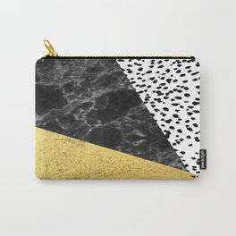 Mele - gold abstract painting art decor dorm college trendy hipster foil glitter black and white dot Carry-All Pouch