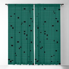 Green and Black Grid - Missing Pieces Blackout Curtain
